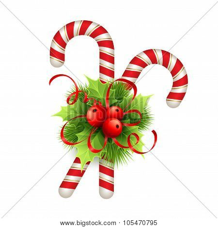 Christmas decoration with holly leaves, bow  and candy. Vector illustration