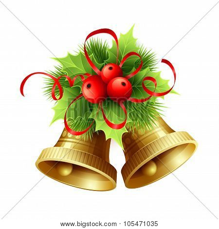 Golden Christmas bells with Holly berries, tinsel and red bow. Vector illustration
