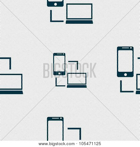 Synchronization Sign Icon. Communicators Sync Symbol. Data Exchange. Seamless Abstract Background