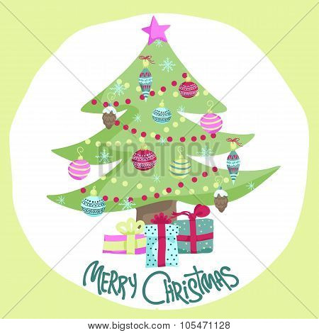 Colorful Christmas Poster With Cute Cartoon Tree