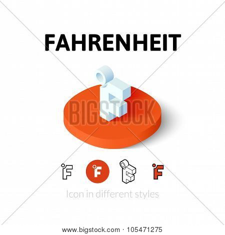 Fahrenheit icon in different style