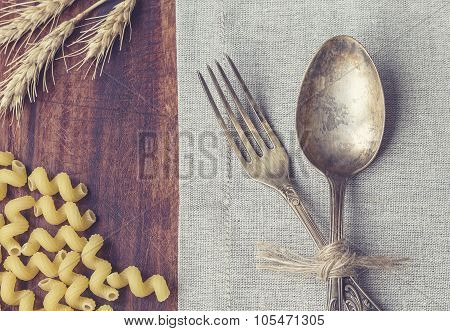 Closeup Of Vintage Fork And Spoon