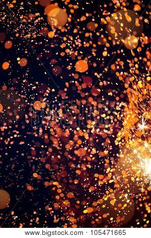 Art Glitter Lights Background. Dark Gold And Black. Defocused