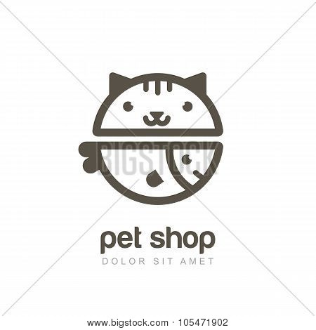 Vector Linear Illustration Of Funny Muzzle Of Cat And Smiling Fish.