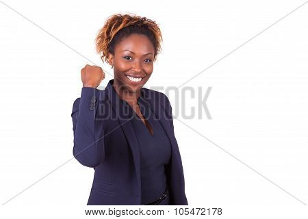 African American Business Woman With Clenched Fist - Black People