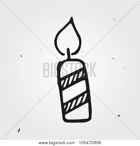 Vector Candle Isolated, Hand Drawn
