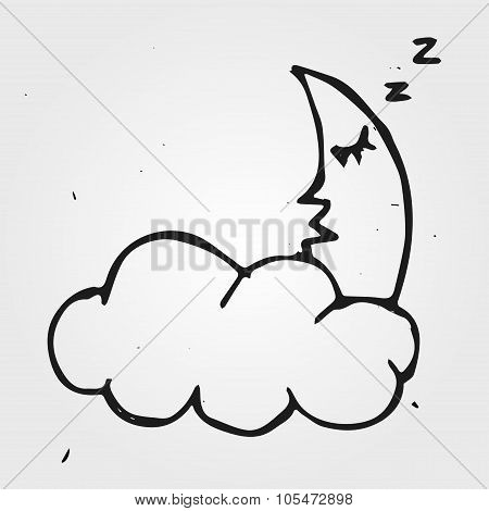 Hand Drawn Night, Cloud With Moon