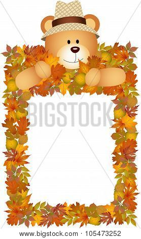 Teddy bear on the autumn leaves frame