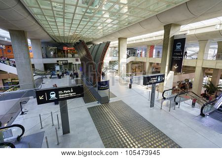 PARIS - SEPTEMBER 10, 2014: Charles de Gaulle Airport interior. Paris Charles de Gaulle Airport is one of the world's principal aviation centres, as well as France's largest international airport.