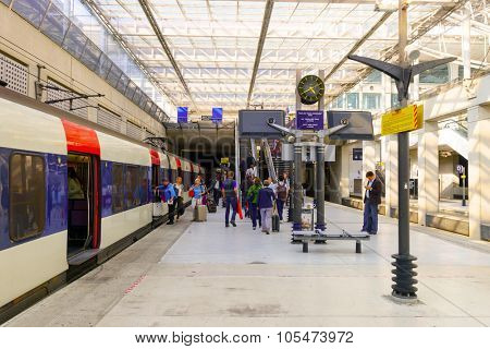 PARIS - SEPTEMBER 10, 2014: train on RER station of Aeroport Charles de Gaulle. Paris Charles de Gaulle Airport is one of the world's principal aviation centres