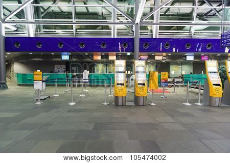 LEIPZIG, GERMANY - SEPTEMBER 10, 2014: Leipzig Airport interior. Leipzig Airport is an international airport located in Schkeuditz, Saxony and serves both Leipzig, Saxony and Halle, Saxony-Anhalt.