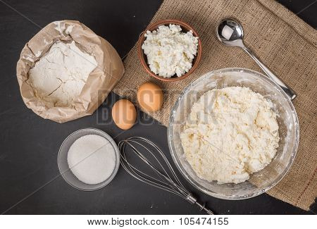 The Ingredients For Homemade Cheesecake Baking, Top View