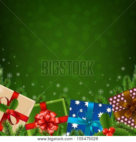 Christmas Retro Card With Gradient Mesh, Vector Illustration