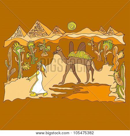 Camels Caravan Vektor
