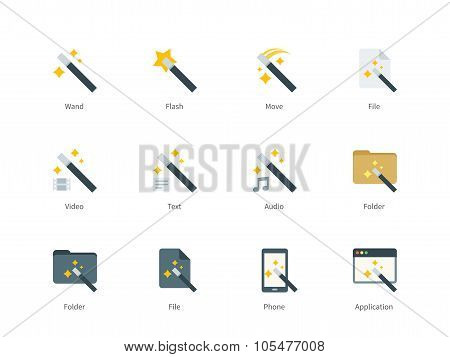 Magic icons on white background