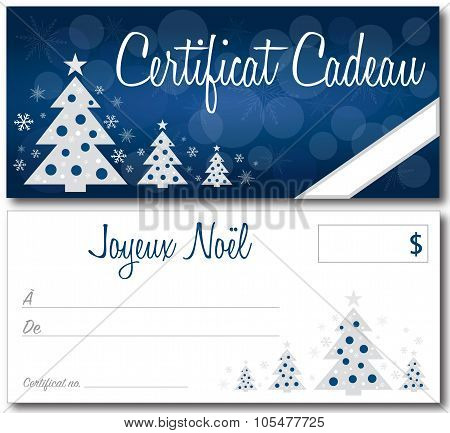 French Christmas Gift Certificate Vectpr