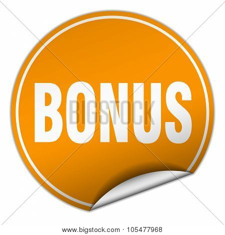 Bonus Round Orange Sticker Isolated On White