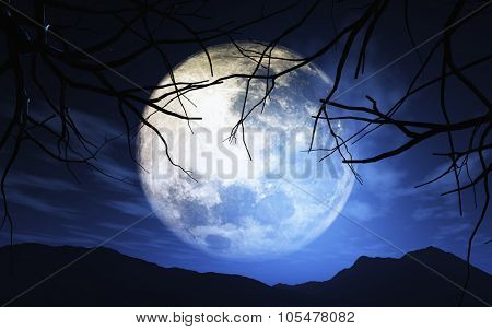 3D render of trees against a moonlit sky - elements of this image furnished by NASA