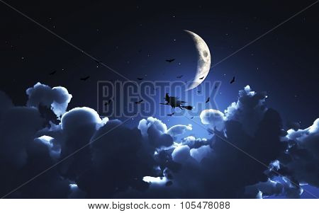3D image of a witch flying above the moon above the clouds - elements of this image furnished by NASA