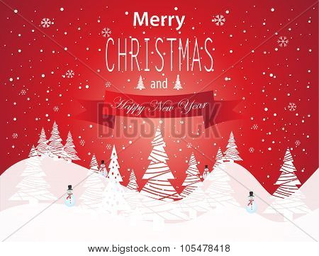 Merry Christmas and Happy New Year card with white tree and snowman