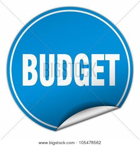 Budget Round Blue Sticker Isolated On White