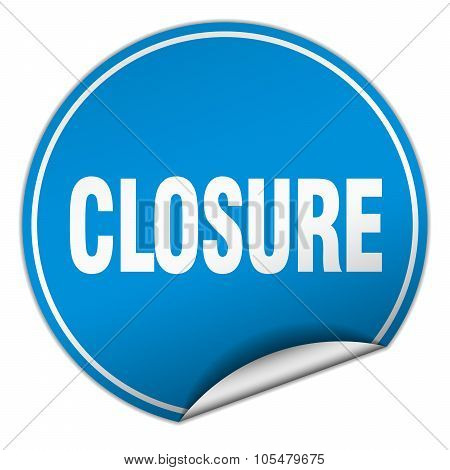 Closure Round Blue Sticker Isolated On White