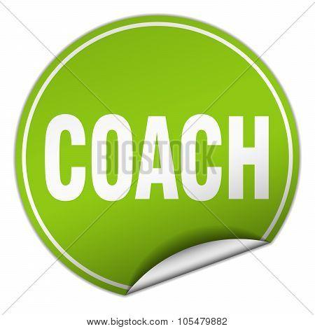 Coach Round Green Sticker Isolated On White