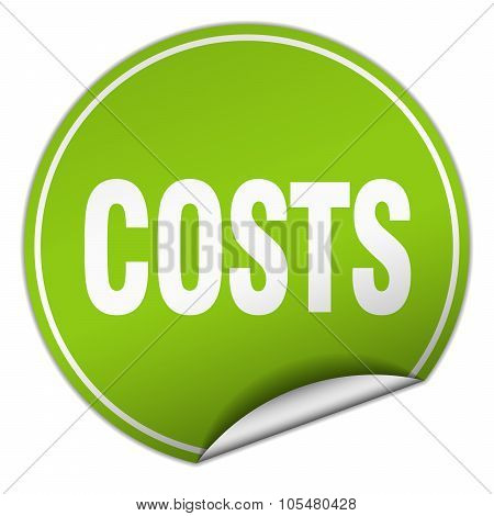 Costs Round Green Sticker Isolated On White
