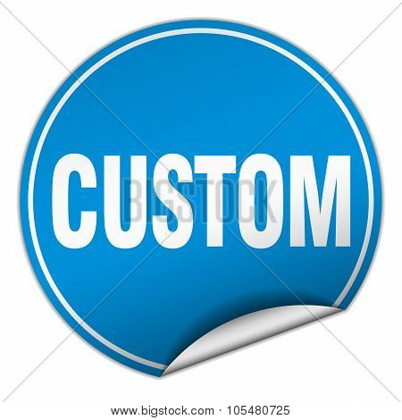 Custom Round Blue Sticker Isolated On White