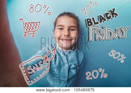 girl teen Black Friday discount sale shopping shouts opened her mouth