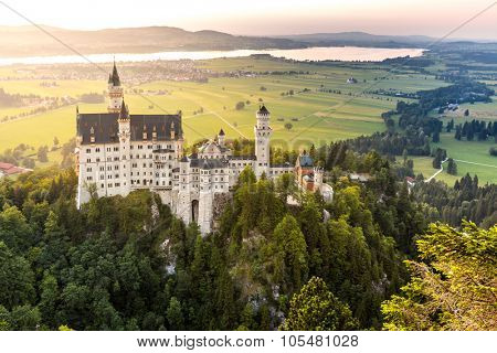 Beautiful summer sunset view of the Neuschwanstein castle at Fussen Bavaria, Germany