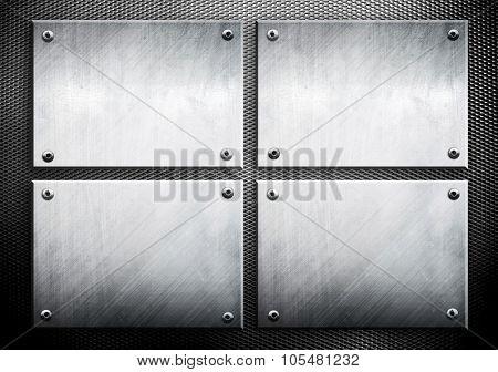 set of metal template on metal mesh background