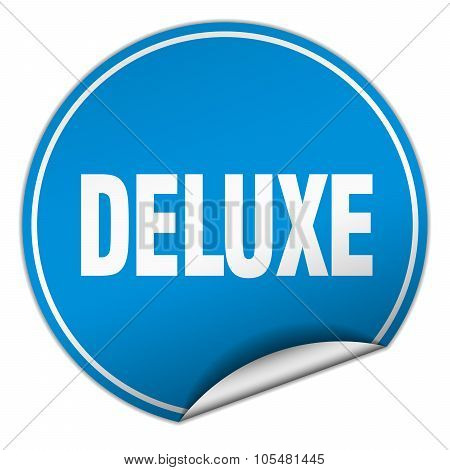 Deluxe Round Blue Sticker Isolated On White