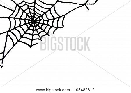 Angular Pattern Spiderweb Isolated On White Background