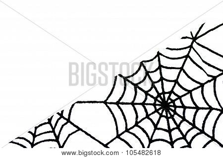 White Background With Copy Space And Spider Web In Bottom Right Corner