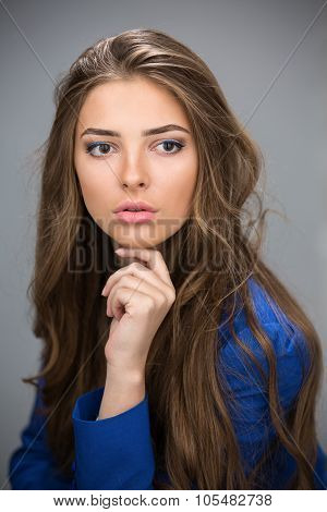 Portrait of a beautiful brown-haired girl