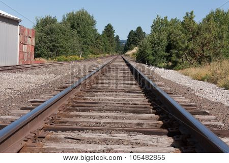 Railroad tracks to nowhere in northern Idaho