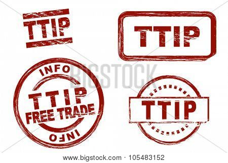 Set of stylized red stamps showing the term TTIP. All on white background.