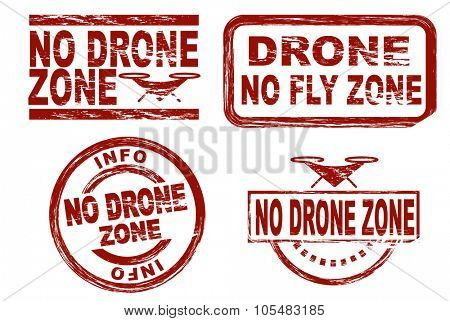 Set of stylized red stamps showing the term no drone zone. All on white background.