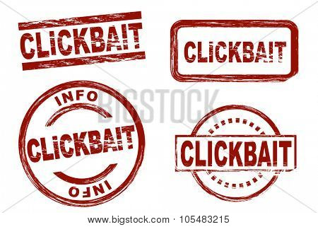 Set of stylized red stamps showing the term clickbait. All on white background.