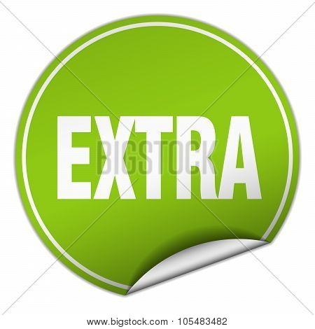 Extra Round Green Sticker Isolated On White