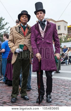 Galveston, Tx/usa - 12 06 2014: Pair Of Men Dressed In Victorian Style At Dickens On The Strand Fest