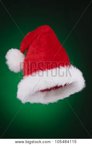 Santa Hat Ready To Use Isolated On Green To Black Gradient Background