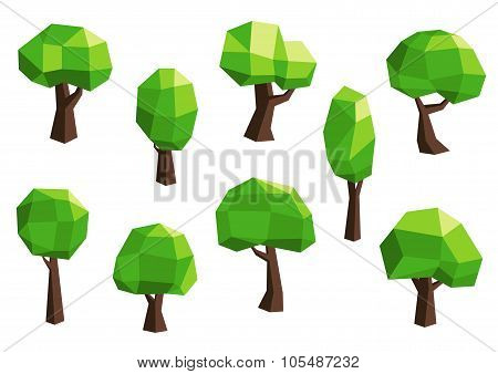Green abstract polygonal tree icons