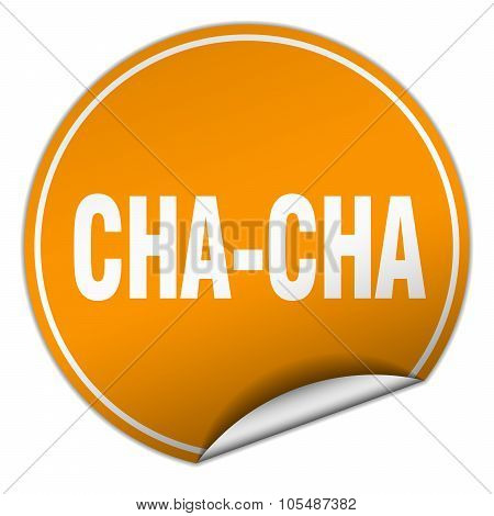 Cha-cha Round Orange Sticker Isolated On White