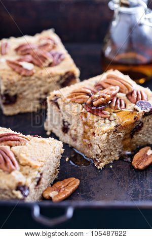 Pecan and dark chocolate blondies