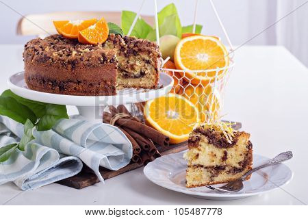 Coffee cake with oranges, nuts and chocolate