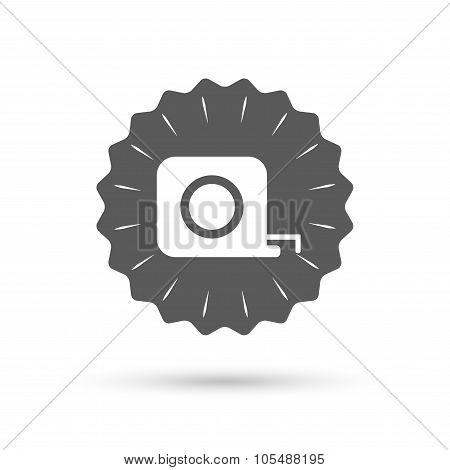 Roulette construction icon. Tape measure symbol.