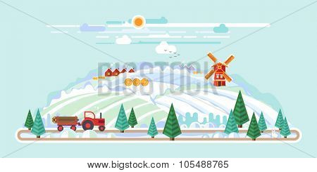 Vector flat illustrations - Eco style life, Windmill in the field. Winter