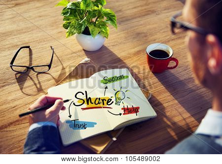 Man Writing Sharing Trust Success Teamwork Help Concept